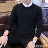 假兩件毛衣男襯衫領新款長袖韓版拼接帶領修身純色套頭針織衫  潮流前線