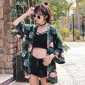 春夏女裝韓版原宿風寬鬆復古花朵印花和服防曬衣外套學生短袖上衣   伊鞋本鋪
