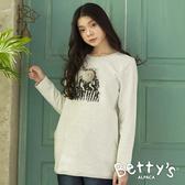 betty's貝蒂思 圓領印花毛帽T-shirt(淺灰)
