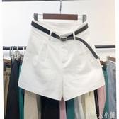 夏季新款高腰百搭休閒短褲女韓版寬鬆顯瘦闊腿a字配腰帶熱褲 「錢夫人小鋪」