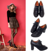 Ann'S英倫甜心-綁帶牛津雕花粗跟踝靴-黑