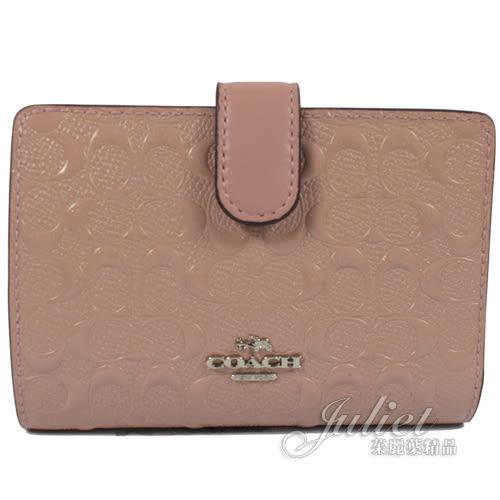 茱麗葉精品 全新精品 COACH 25937 馬車LOGO防刮漆皮扣式零錢中夾.粉紅
