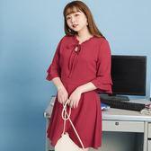 Poly Lulu 荷葉綁帶領層次喇叭袖收腰洋裝-梅紅【92290233】