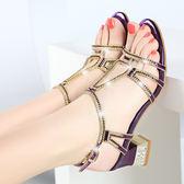 水鑽粗跟涼鞋 女中跟鑲鑽羅馬鞋【多多鞋包店】z2345
