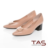 TAS 方形金屬飾釦拼接粗跟鞋 卡其