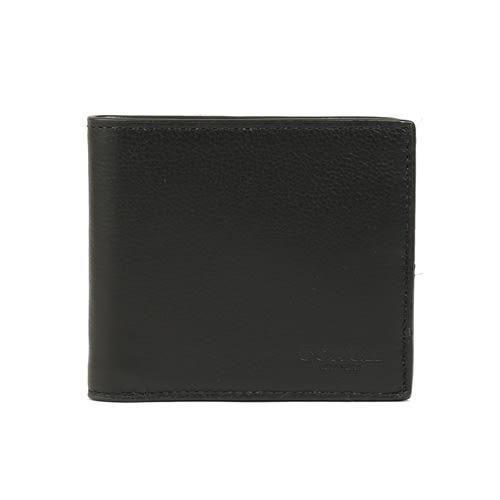 COACH 全皮革對折八卡短夾(黑色)
