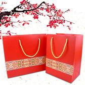 過年 過節 喜慶 喜氣大紅鑲邊禮品袋 提袋【庫奇小舖】2款