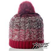 【PolarStar】女 漸層編織保暖帽『紅』P18604 羊毛帽 毛球帽 素色帽 針織帽 毛帽 毛線帽 帽子