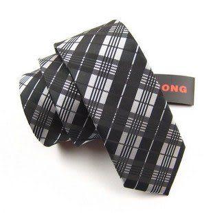 時尚銀色黑色格子6cm休閑窄領帶 IFSONG 070