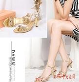2020夏季新款足意爾康涼鞋女仙女風性感細跟金色水鉆百搭高跟鞋潮 OO9938【Rose中大尺碼】