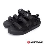 【AIRWALK】魔鬼氈增高二穿式涼鞋-黑色