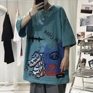 男士短袖夏季新款卡通印花韓版潮流港風寬鬆T恤【全館免運】