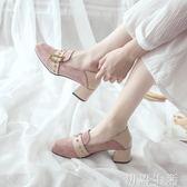 樂福鞋粗跟單鞋女春新款網紅百搭英倫風仙女鞋中高跟少女樂福鞋ins 初語生活