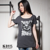 【BTIS】黑貓文字 長版T-shirt / 灰色