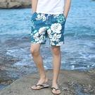 沙灘褲 男士夏純棉沙灘褲男寬鬆大褲衩男大褲頭外穿潮流五分褲子花短褲男 快速出貨