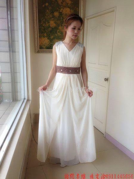 (45 Design) 定做  7天到貨 香檳白色雙肩長晚禮服高腰新娘禮服 伴娘禮服晚宴禮服齊地