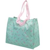 小禮堂 美樂蒂 折疊尼龍環保購物袋 環保袋 側背袋 手提袋 (綠粉 大臉) 4930972-50983