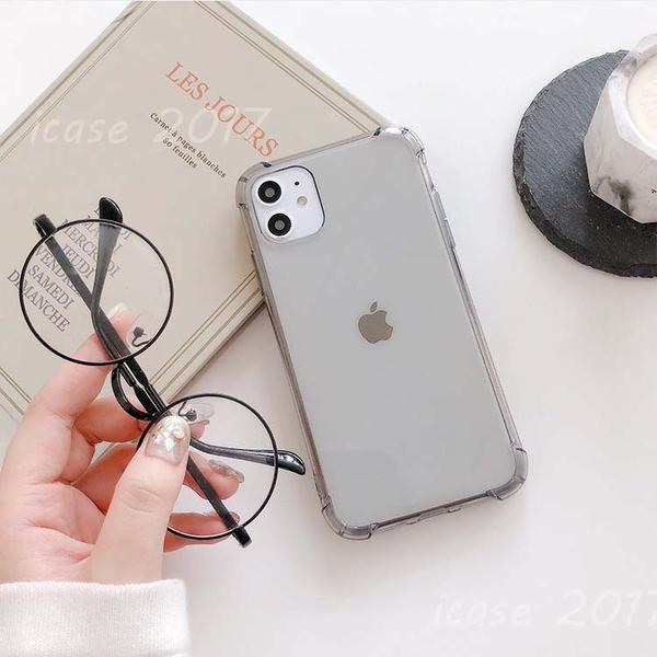 素色透明|蘋果 iPhone 7 8 Plus SE2 i12 11 Pro max XS MAX/XR 四角加厚 防摔保護套 氣墊手機殼 掛繩孔