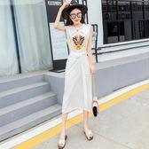 連衣裙女夏2018新款韓版氣質無袖印花圓領綁帶收腰顯瘦開叉背心裙