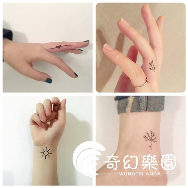 紋身貼-紋身貼防水女持久韓國仿真性感可愛小清新花英文字母鎖骨紋身貼紙-奇幻樂園