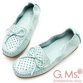 G.Ms. MIT系列-超軟Q彈力沖孔蝴蝶結牛皮莫卡辛休閒鞋-淺水藍