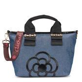 CLATHAS 山茶花裝飾丹寧織布兩用小托特包(藍色)201051-84