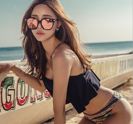 喬依 韓版兩件式 黑色荷葉款民族個性條紋比基尼泳衣泳裝bikini je 【80b】