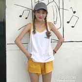 韓版運動休閒套裝夏裝字母背心無袖t恤上衣 闊腿短褲學生兩件套女-Ifashion
