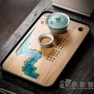 棲鳳居日式簡約家用茶盤現代功夫茶具創意竹制托盤茶道儲水干泡臺 WD小時光生活館