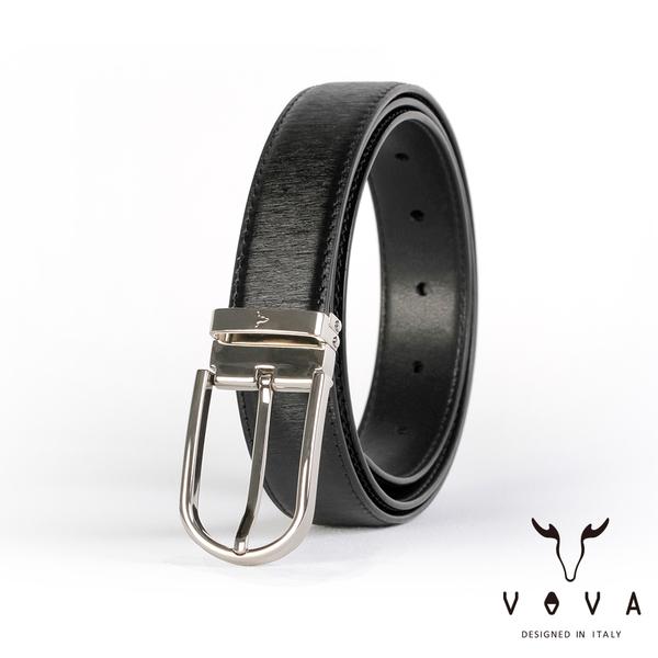 【VOVA】紳士圓頭穿針式髮絲紋皮帶(銀色) VA003-008-NK
