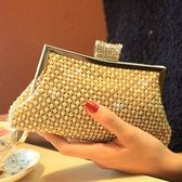 珍珠晚宴包-閃亮奢華水鑽時尚女手拿鏈條包71as25[巴黎精品]
