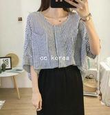 復古雙口袋直條紋圓領襯衫 CC KOREA ~ Q16643