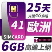 【TPHONE上網專家】歐洲全區41國 6GB超大流量高速上網卡 支援4G高速 25天