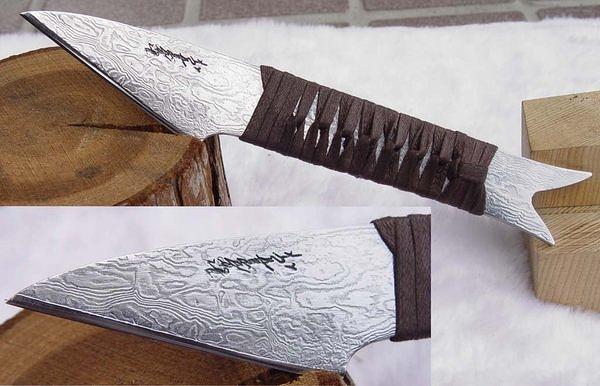 郭常喜與興達刀鋪-積層花紋鋼手工製作小魚刀-繩柄魚型(C0003)賀!榮獲高雄城市品牌CAD認證