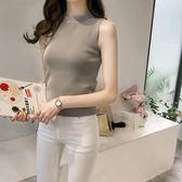 針織背心 純色半高領套頭針織衫女外穿無袖背心上衣打底衫