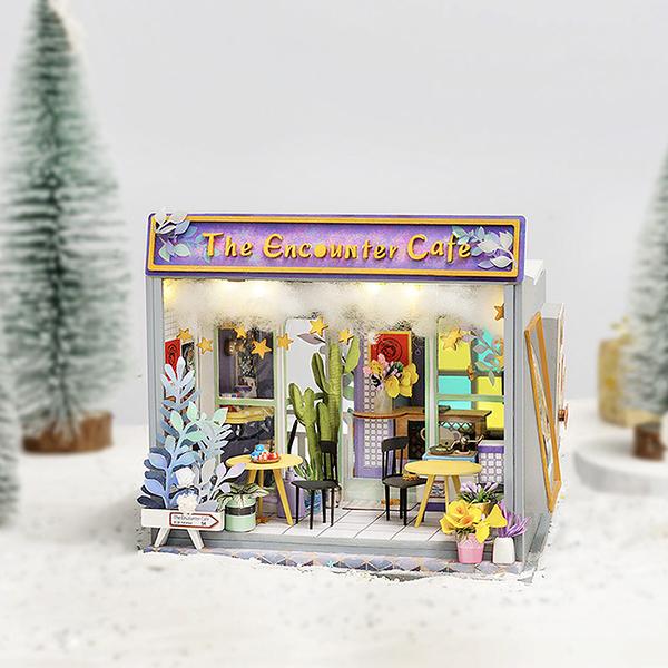 《 Robotime  》3D木製拼圖 - TD02 泰迪小屋系列 Cafe Encounter (無人偶)╭★ JOYBUS玩具百貨