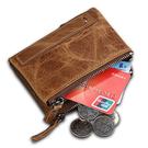 皮夾 瘋馬牛皮男士錢包 短款防RFID盜刷零錢包男 雙拉鏈錢夾 生日禮物  快速出貨