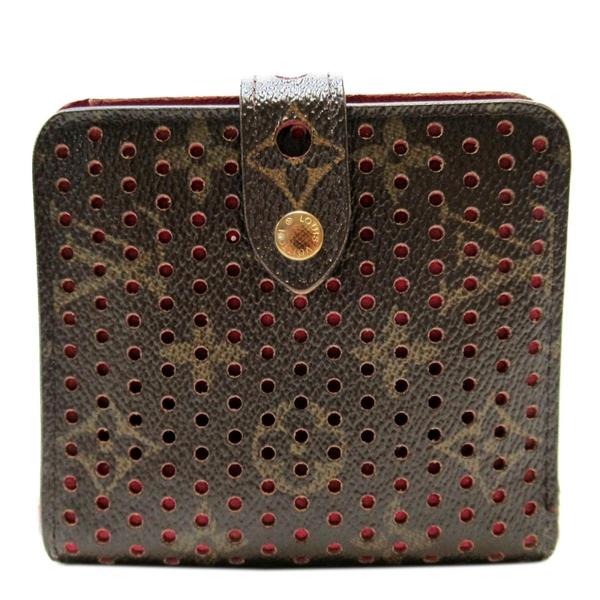 LOUIS VUITTON LV 路易威登 紫紅色原花扣式二折短夾 Compact Zip Wallet【BRAND OFF】