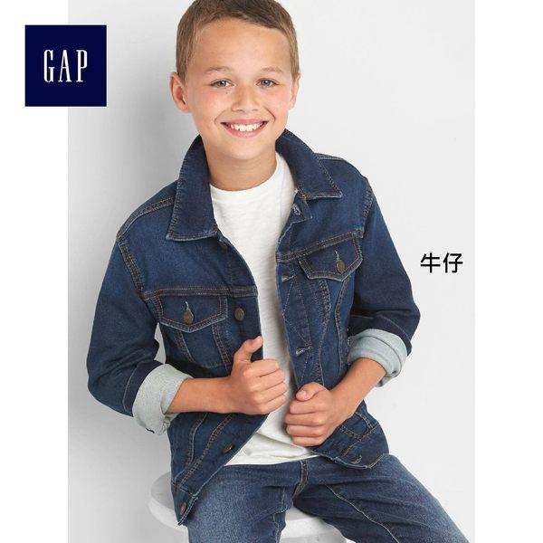 Gap男童 簡潔風格深色水洗長袖牛仔夾克 234741-牛仔