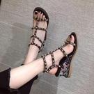 韓版涼鞋女春季新款仙女風高跟鞋女復古羅馬百搭露趾坡跟女鞋
