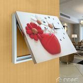 客廳現代液壓配電箱壁畫帶鐘錶可推拉遮擋電閘箱電錶箱裝飾畫掛鐘 多色小屋YXS