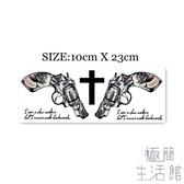【買一送一】暗黑胸前手槍字母十字架逼真紋身貼刺青【極簡生活】
