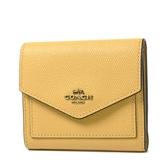 美國正品 COACH 專櫃款 古銅金字防刮皮革三折短夾-黃色【現貨】