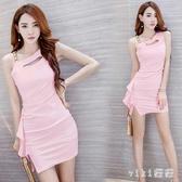 夏季新款2020性感斜肩吊帶包臀短裙修身氣質粉色連身裙洋裝流行裙子 OO6260【VIKI菈菈】