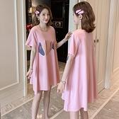 漂亮小媽咪 童趣 印花 魚骨 寬鬆上衣 【C1919】孕婦裝 短袖 百搭 印花T恤裙 孕婦上衣 洋裝