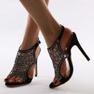 新款外貿歐美水鉆大碼鏤空高跟女式涼鞋 夜店舞臺表演高跟鞋