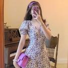 2021夏季新款復古法式方領泡泡袖開叉洋裝連衣裙油畫紫碎花長裙仙女裙 快速出貨