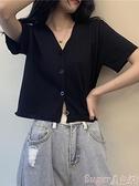針織上衣 短款上衣女春夏2021新款法式溫柔v領黑色短袖薄款冰絲bm針織開衫 suger