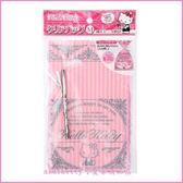 asdfkitty可愛家☆KITTY粉色直條花邊塑膠袋/包裝袋/糖果餅乾收納袋-M號-日本正版