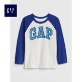 Gap男嬰幼童 logo插肩長袖圓領T恤 496362-光感亮白
